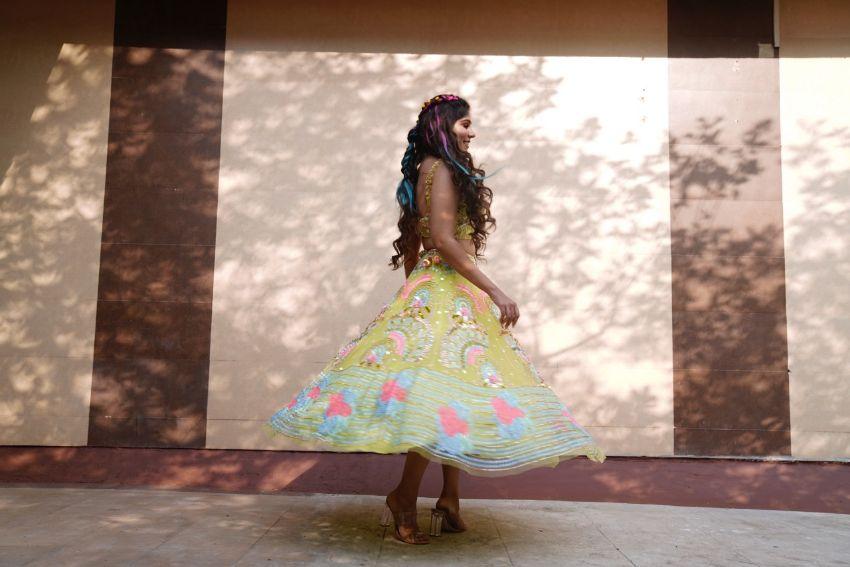 mehendi outfit papa dont preach mehendi lehenga | colourful lehenga | mumbai wedding | reception outfit  | #wittyvows #indianwedding