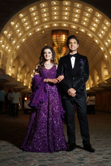 gorgeous indian couple   reception day outfit