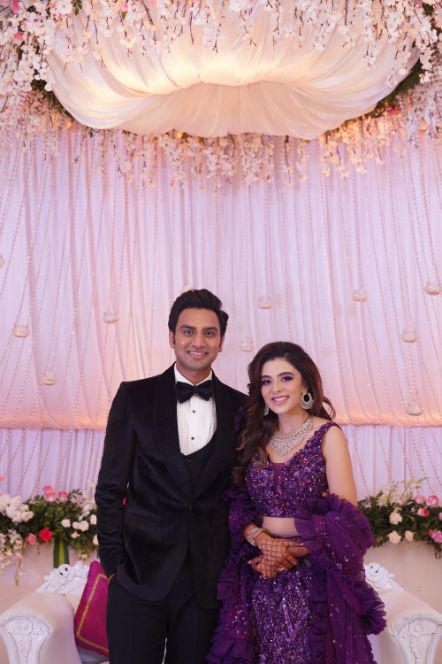 beautiful indian couple in their reception