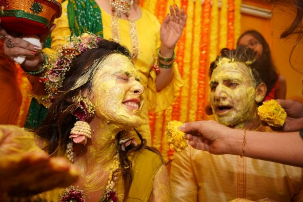 brides haldi ceremony | indian bride immersed in haldi