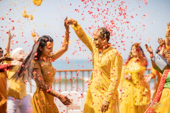 flower shower for haldi day | Cutest Haldi Ceremony