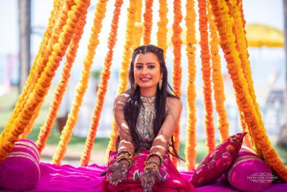 stunning bridal mehendi | mehendi seat for the bride | Cutest Haldi Ceremony