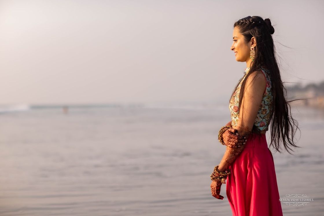 bridal photo shoot by the beach | Cutest Haldi Ceremony