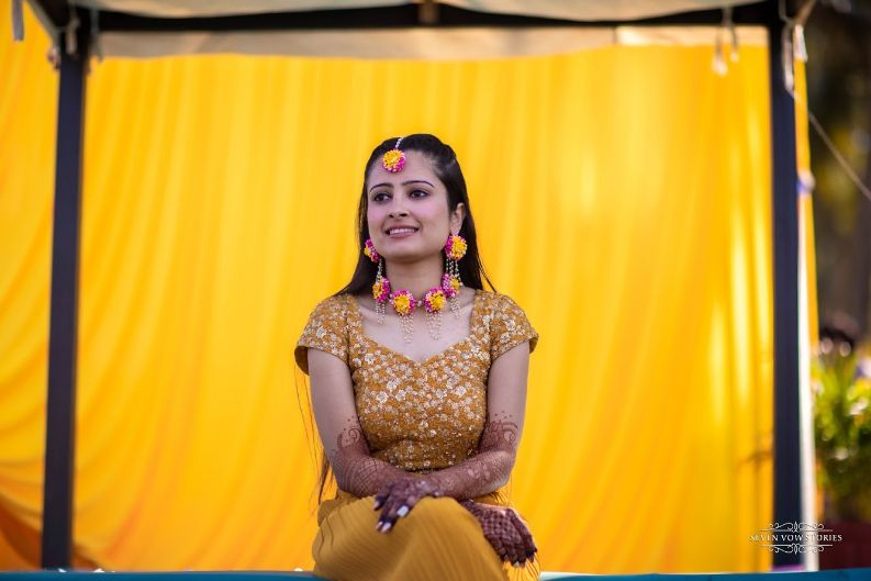 stunning haldi ceremony outfit  for the bride | Cutest Haldi Ceremony