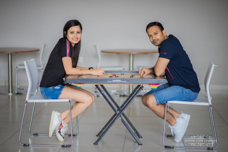 couple in matching outfits for their pre wedding shoot