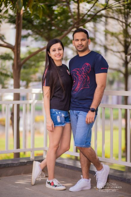 couple in matching outfit | pre wedding photos