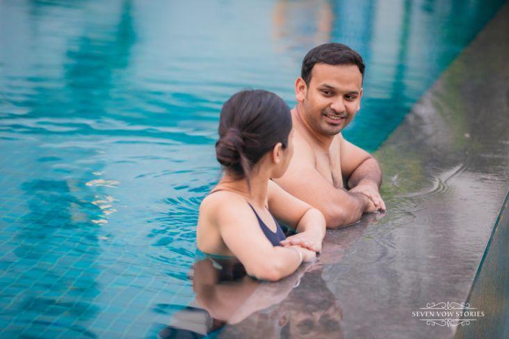 swimming pool photo shoot | pre wedding shoot ideas