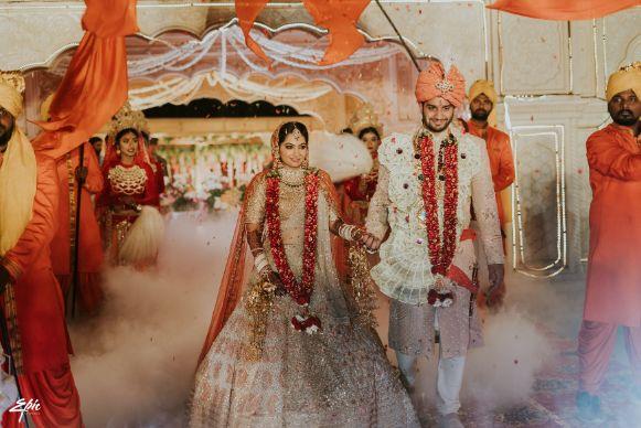 indian couple   beautiful varmala   Wedding at Ramoji Film City