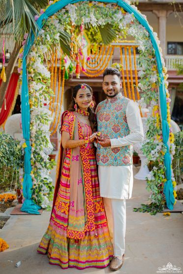 Quirky Mehendi function | indian couple real wedding | real destination wedding | lehenga | colourful lehnga |