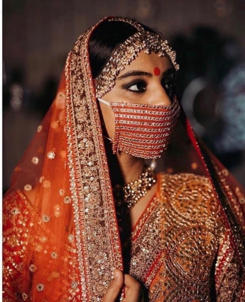 Indian brides wearing masks | Designer masks for indian brides pf 2020 | corona masks to wear indian weddings | #wittyvows #masks #corona #designermasks