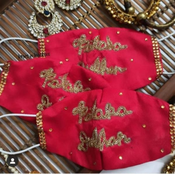 dulhan masks , red masks , Designer masks for indian brides pf 2020 | corona masks to wear indian weddings | #wittyvows #masks #corona #designermasks