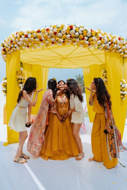 beautiful shoot with bridesmiads on haldi ceremony