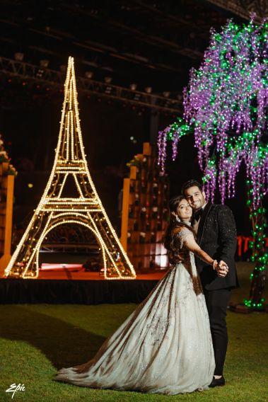 eiffel tower themed shoot   indian wedding