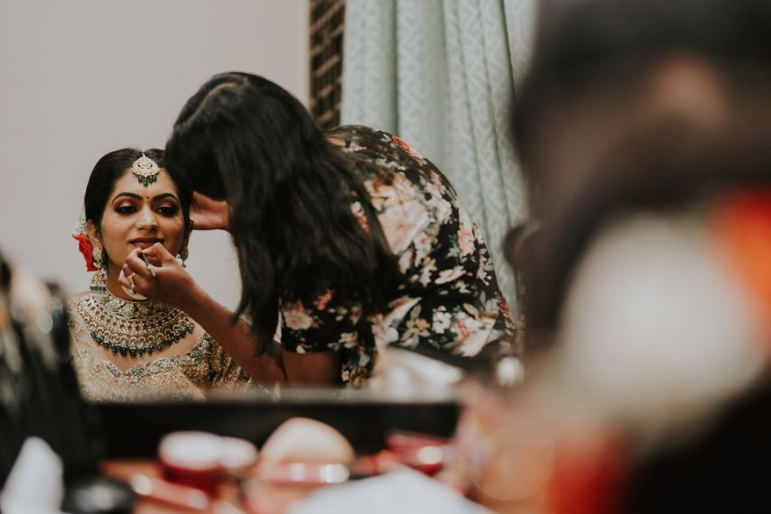 getting wedding reday photos of and INdian bride | Wedding at Ramoji Film City