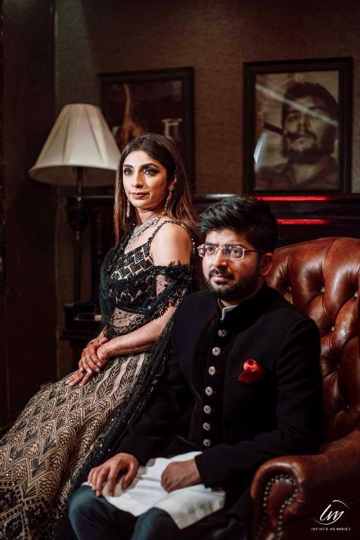 indian couple photoshoot | black lehenga |  wittyvows wedding outfits