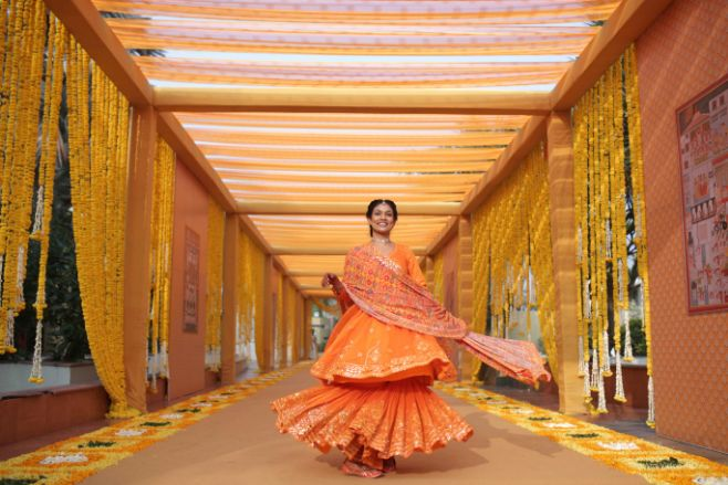 twirling moment , bride twirling , indian bride , indian bridal lehenga , lehenga , yelllow lehenga , haldi , wittyvows , bridal outfits , gujarati wedding , Moroccan mehendi