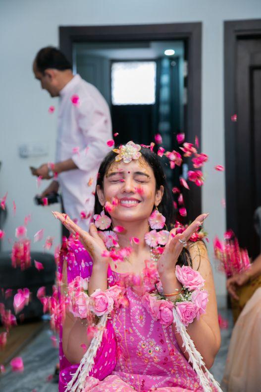 flower shower , indian couple , wittyvows , weddings , indian bride , bridal lehenga , Lockdown wedding | intimate wedding | Wedding at home