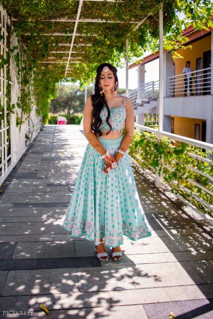 mehendi outfit , indian wedding , india bride , wittyvows , weddings , goa wedding , destination wedding   wedding in Goa   beachside mandap   mehndi look ,mehndi