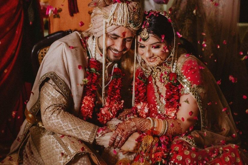 indian wedding , real indian couple , wittyvows , flower shower , lockdown wedding   henna design   haldi outfit