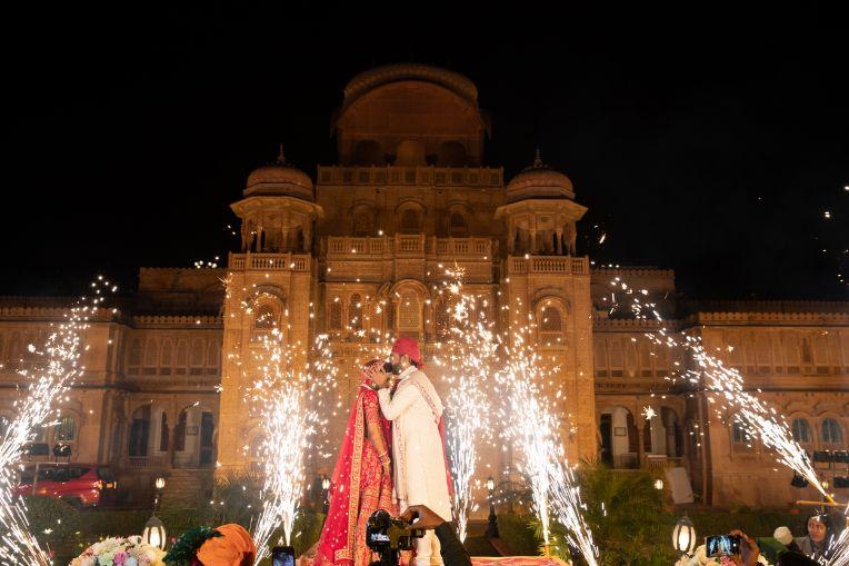 royal wedding , yellow lehenga , destination wedding | wedding In Rajasthan | yellow lehenga | lehenga for sangeet | mirror work | Jaimala moment