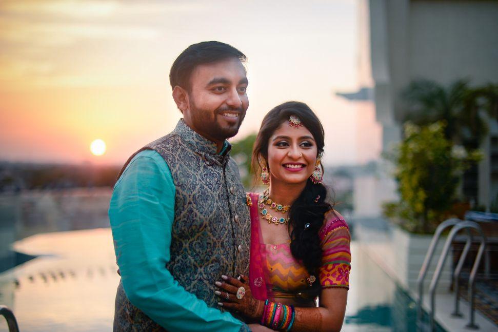 couple photoshoot , destination wedding | wedding In Rajasthan | yellow lehenga | lehenga for sangeet | mirror work | Jaimala moment