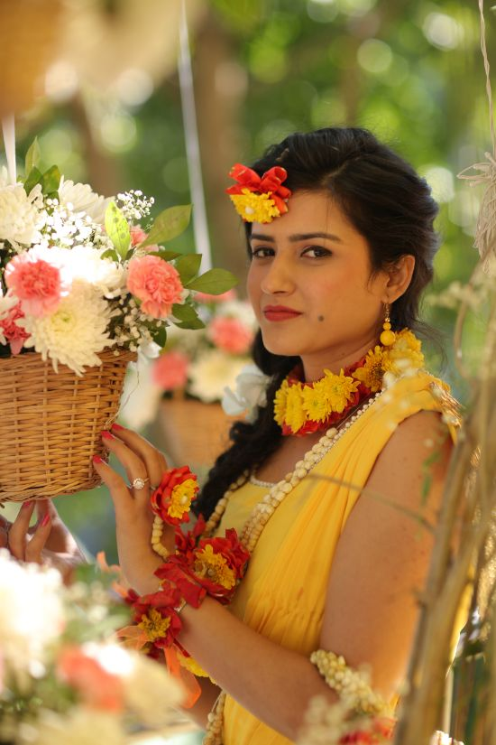 haldi outfit , saree , haldi yellow saree, hill station wedding | wedding in Rishikesh | riverside mandap