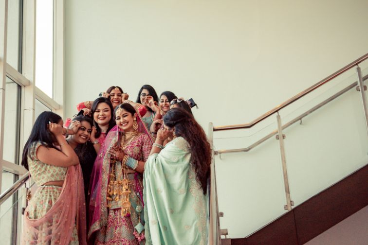 indian bridesmaid , Pink lehenga | blouse design | cross cultural wedding | wedding in delhi