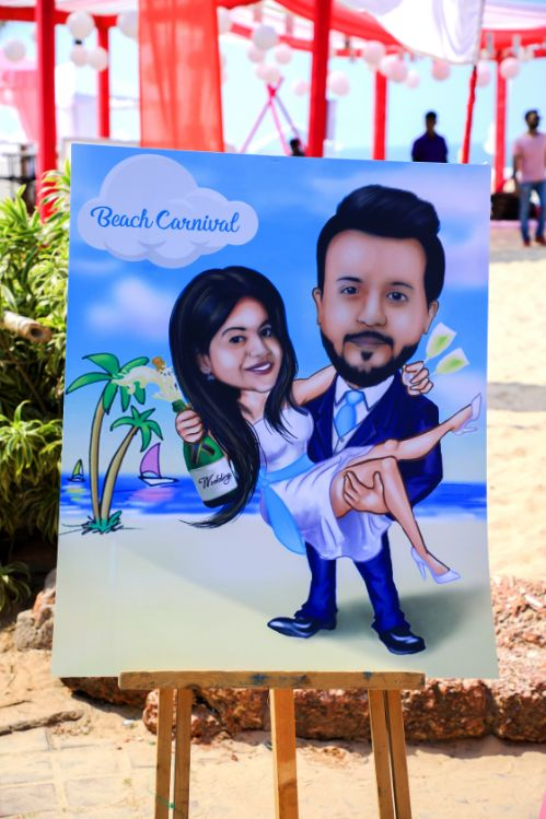 caricatures , all white , destination weddings , wittyvows , wedding blog Beach wedding | wedding in Goa | cocktail outfit | beach party