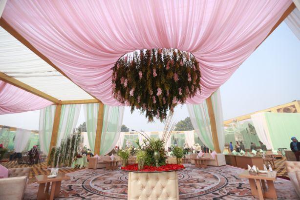 mandap decor   indian wedding decor   Pink Anita Dongre Lehenga
