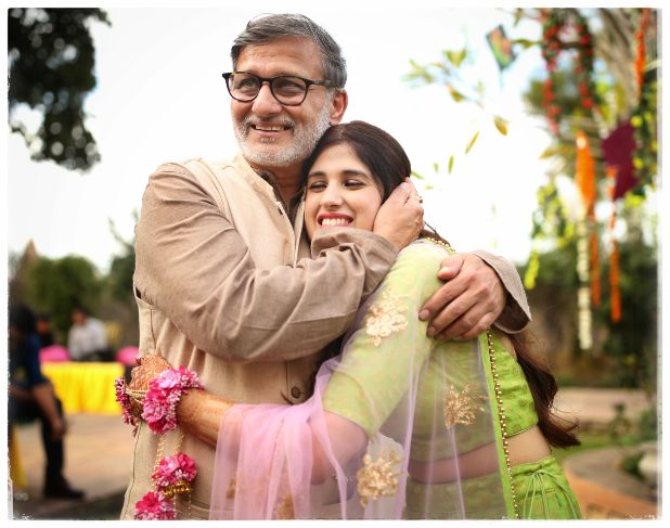 cute father daughter moment form wedding | Wedding in  Orchha with a Reception Lehenga to Drool Over