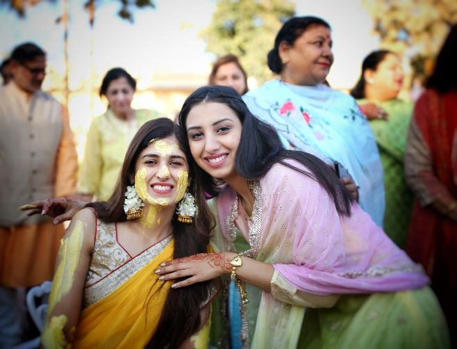 indian bridesmaids | indian wedding rituals | Wedding in  Orchha with a Reception Lehenga to Drool Over