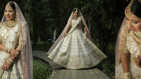 Indian bride spotted in Gold and Ivory lehenaga for her Intimate Wedding in Jim Corbet