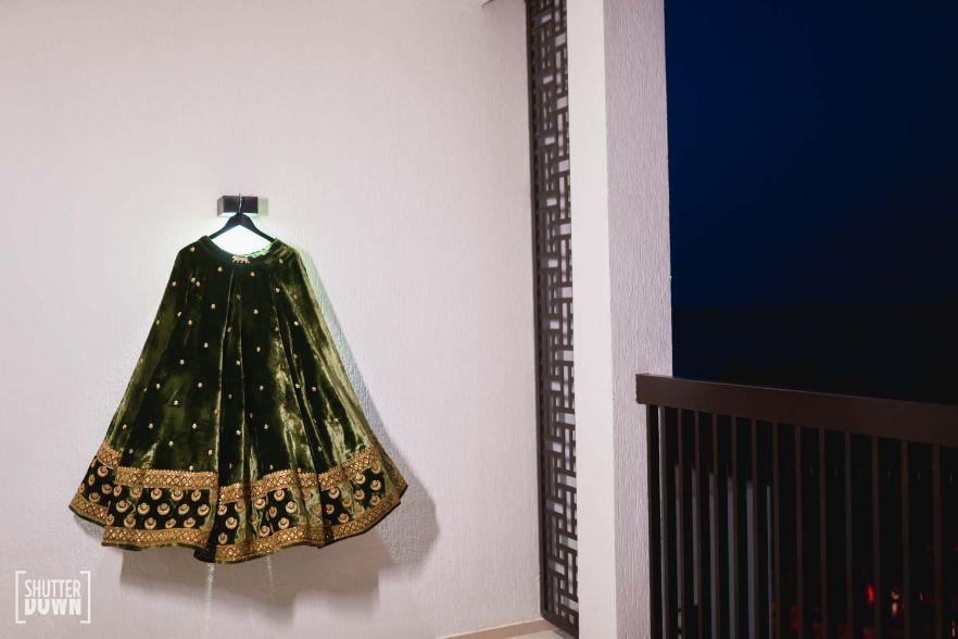 bridal velvet lehenga in green   Destination wedding in Fujairah