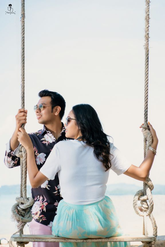 saying it with a swing | indian pre wedding shoot diaries | Beach Wedding in Alibaugh