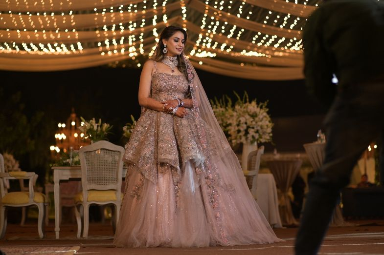 indian bridal fashion peplum blouse | engagement look | sparkling pink gown | gown for engagement | veil