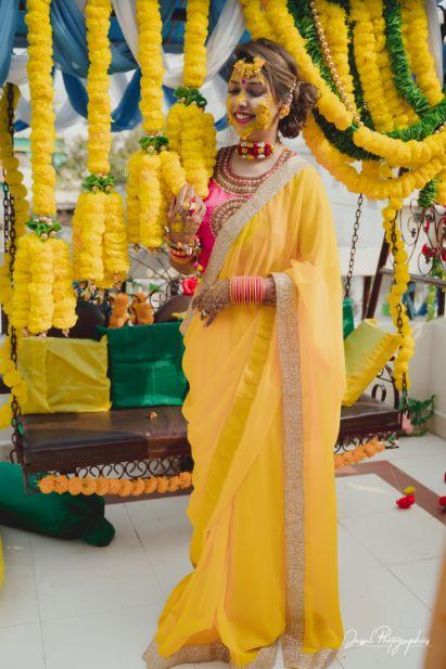 haldi ceremony | saree of the bride | brides outfit |