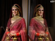 Indian bride in maroon sabyasachi lehenga