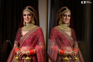 Indian bride in maroon sabyasachi lehenga