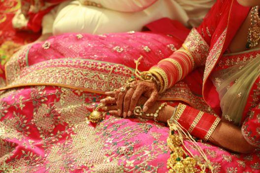 bridal outfit details   Pink Anita Dongre Lehenga
