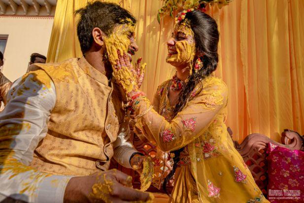 haldi fun , indian wedding , haldi outfit , couple photoshoot , bridal details , Destination Wedding in Orccha with a Pretty Haldi Outfit!