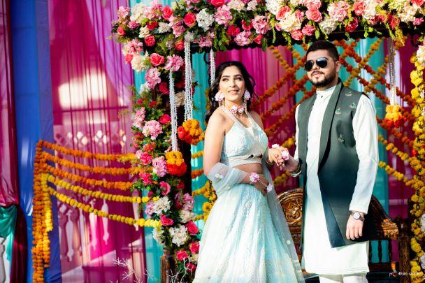 Indian wedding , indian bridal lehega , wittyvows , Jaipur wedding   mehendi decor   blue lehenga