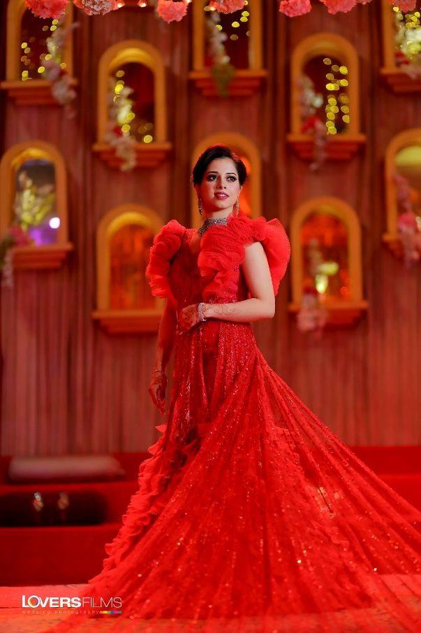 """""""red gown, gown with ruffles"""