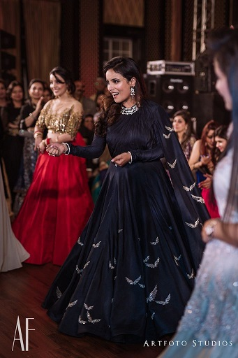Navy blue anarkali with attached dupatta | Sangeet outfit | Indian bride