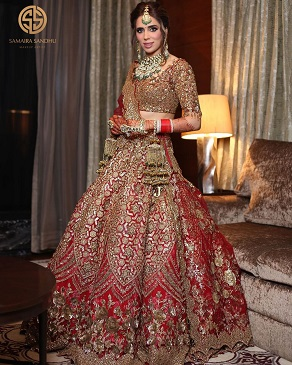 Golden embroidery | Red lehenga | Indian wedding outfit
