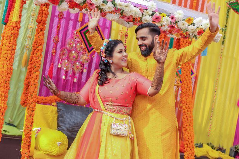 real indian bride , lehenga , Pastel choker | Destination wedding