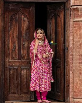 Punjabi bride | pink suit | Indian bride | Newlywed | anarkali | lohri