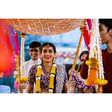 Voilet lehenga for Anamika Khanna bride