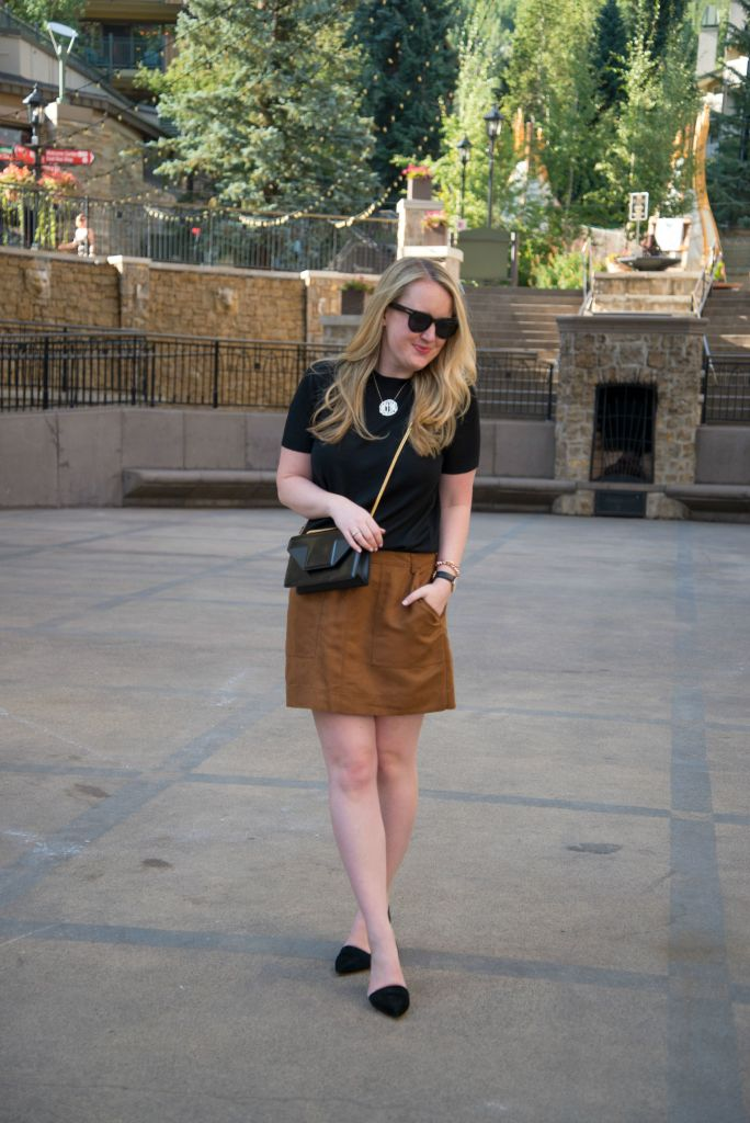 Everlane Sweater I Hinge Suede Skirt I wit & whimsy