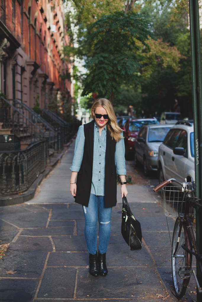 Denim on Denim with a Vest I wit & whimsy I meghan donovan