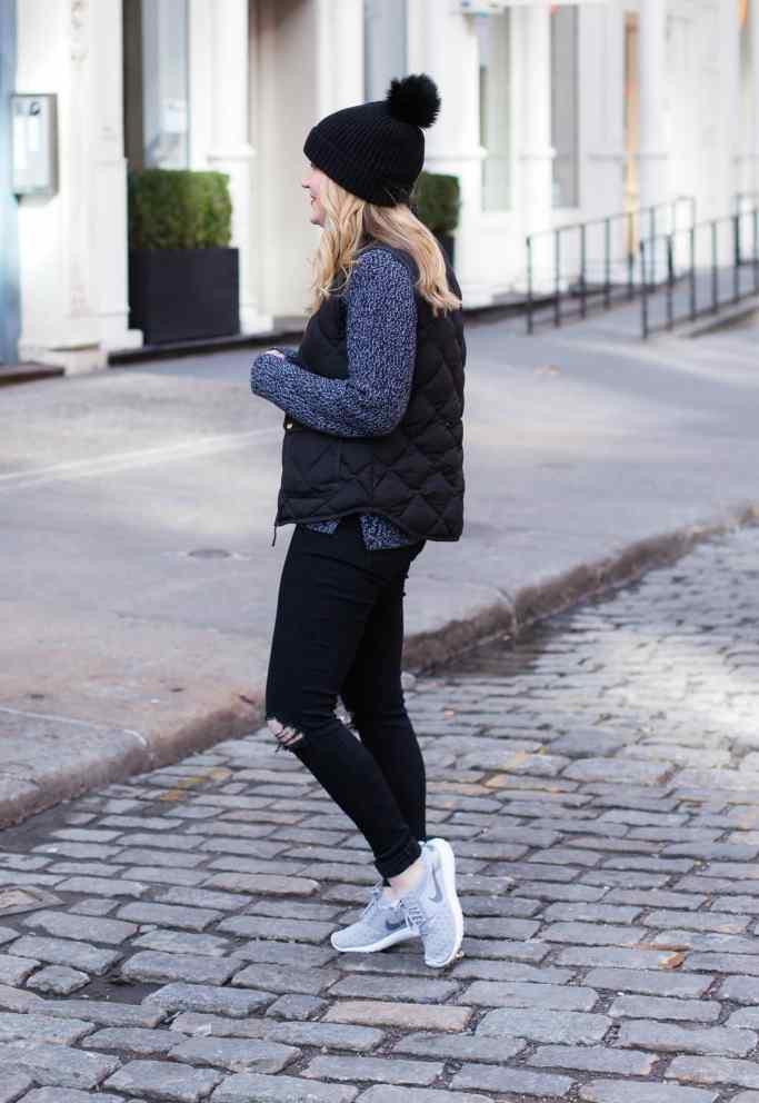 Sweater, Vest & Distressed Denim